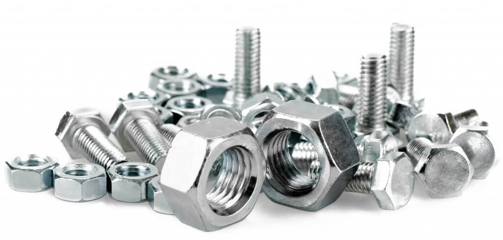 Close up bolt screws and nuts